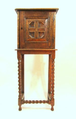 EDWARDIAN OAK CUPBOARD WITH STAND