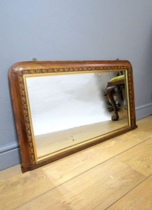 WALNUT VENEER TUNBRIDGE OVER MANTLE MIRROR