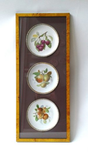 Framed Fine Hutschenreuther Fruitplates, plum, apple, cherry