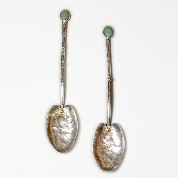 2 Silver Spoons by Narissa Mather, hand made with green stones inset at the top of each silver stem