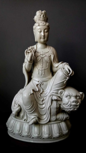 Blanc de Chine Quan Yin Seated Figure on Foo Dog, from Narissa Mather
