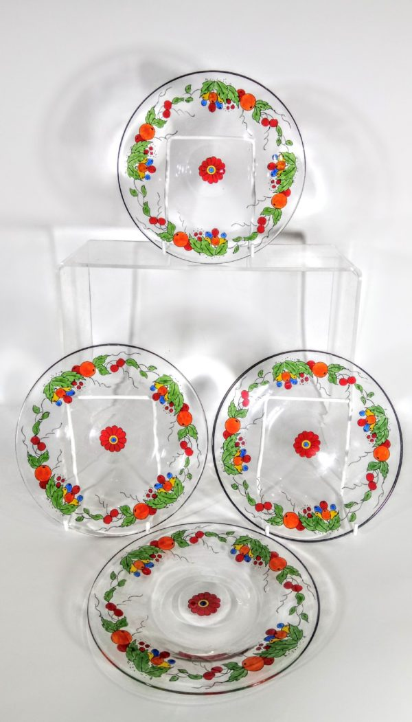 Stuart & Son Art Deco crystal glass dessert plates, from Narissa Mather